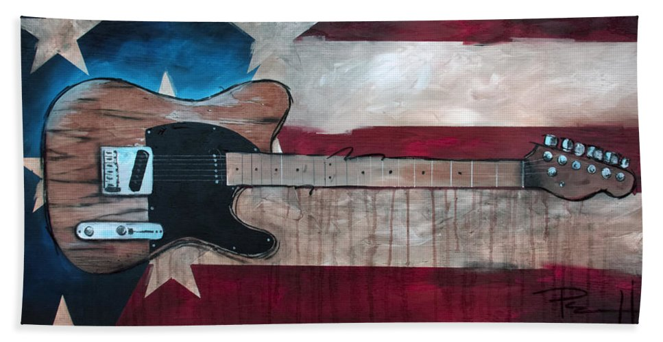 Bruce Springsteen Beach Towel featuring the painting The Boss by Sean Parnell