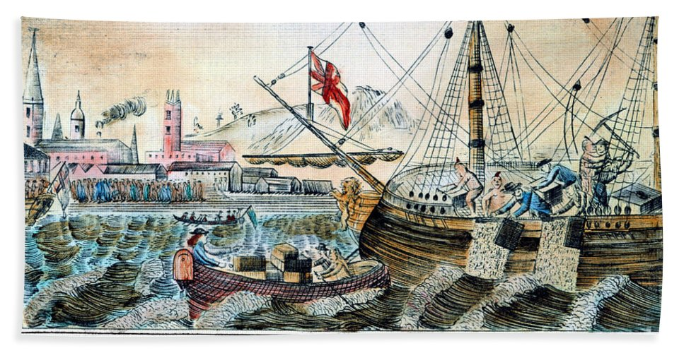 1773 Beach Towel featuring the photograph The Boston Tea Party, 1773 by Granger