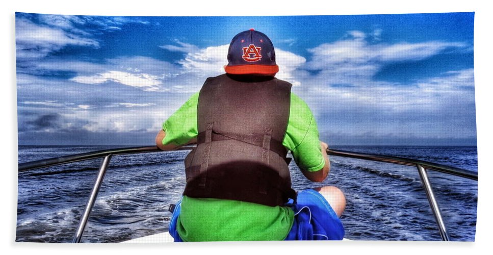 Boat Beach Towel featuring the photograph The Bow Rider by John Myers