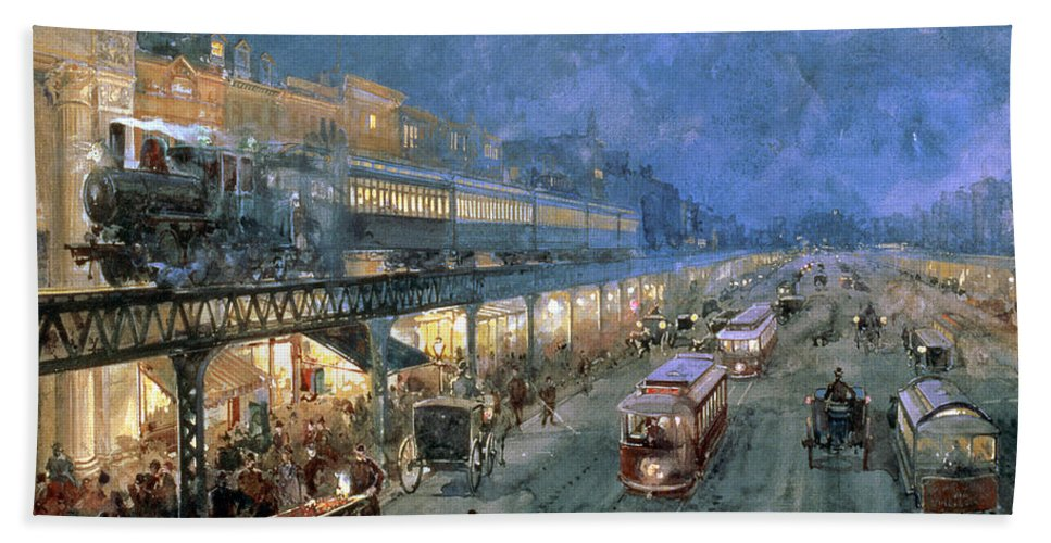 The Bowery At Night Beach Towel featuring the painting The Bowery At Night by William Sonntag