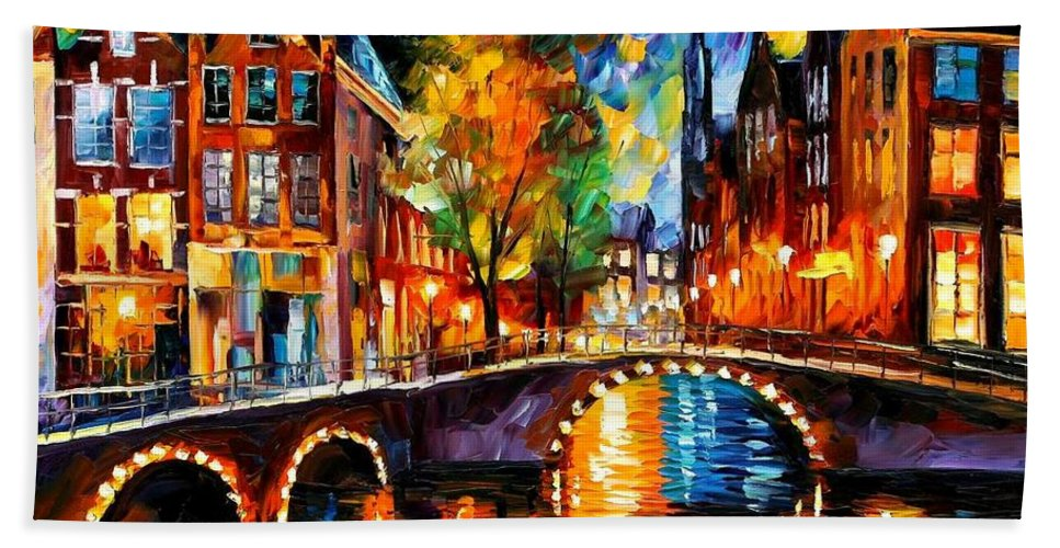 Afremov Beach Towel featuring the painting The Bridges Of Amsterdam by Leonid Afremov