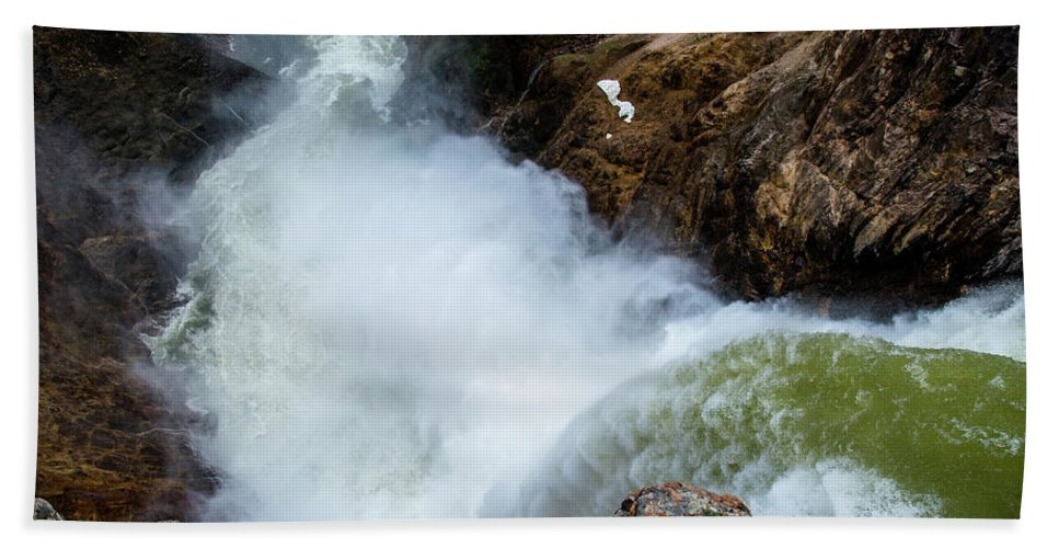 Canyon Beach Towel featuring the photograph The Brink of the Lower Falls of the Yellowstone River by Frank Madia