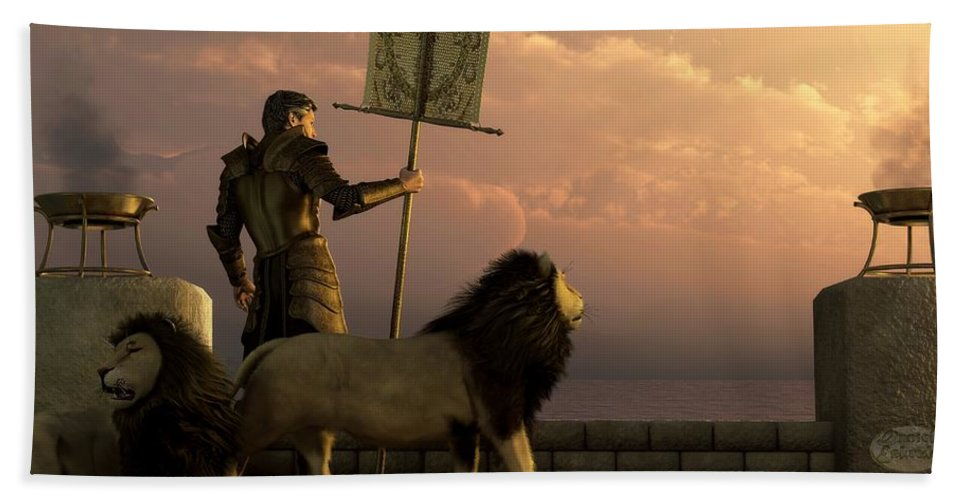 Knight Beach Towel featuring the digital art The Bronze Knight Of The Isle Of Lions by Daniel Eskridge
