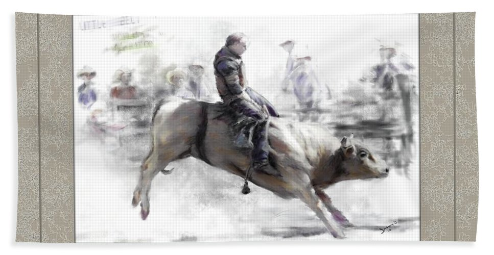 Bull Rider Beach Towel featuring the painting The Bull Rider by Susan Kinney