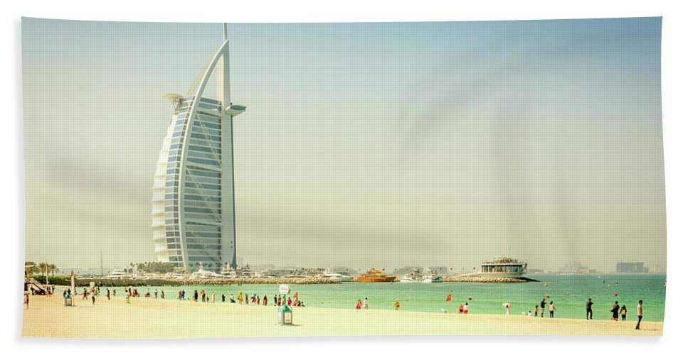 Dabai Beach Towel featuring the photograph The Burj Al Arab by Andrew Matwijec