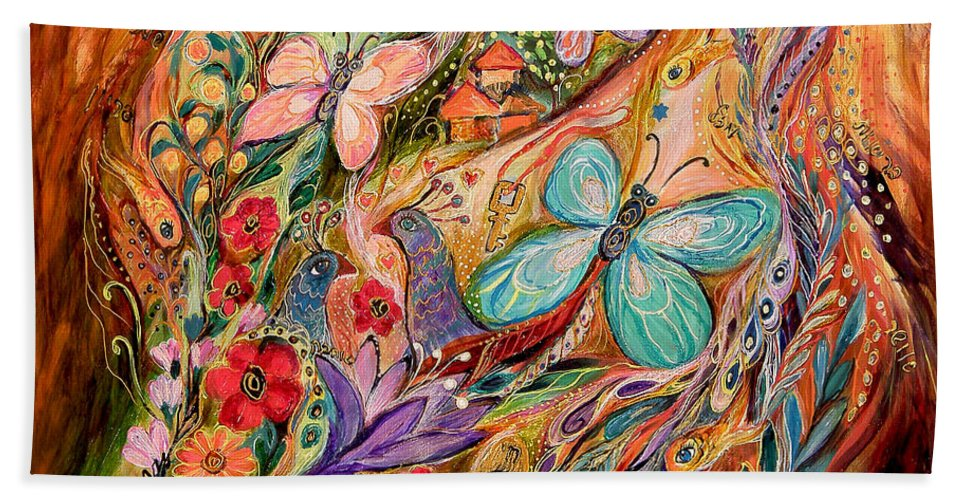 Original Beach Towel featuring the painting The Butterflies On Wind by Elena Kotliarker