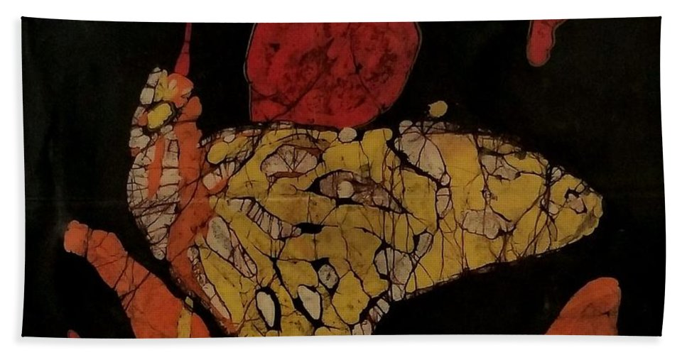 Batik Art Beach Towel featuring the mixed media The Butterfly Effect by Jimmy Leahy