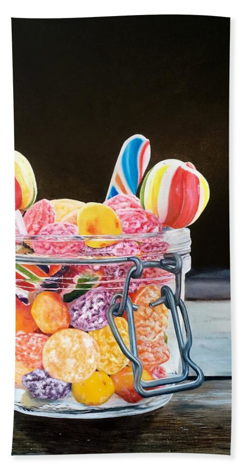 Realistic Beach Towel featuring the painting The Candy Jar by Martine Venis-Heethaar
