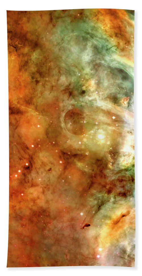 Carina Beach Towel featuring the photograph The Carina Nebula Panel Number One Out Of A Huge Three Panel Set by Ricky Barnard