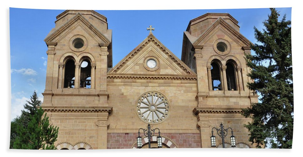 Cathedral Beach Towel featuring the photograph The Cathedral Basilica Of St. Francis Of Assisi, Santa Fe, New M by Debby Pueschel