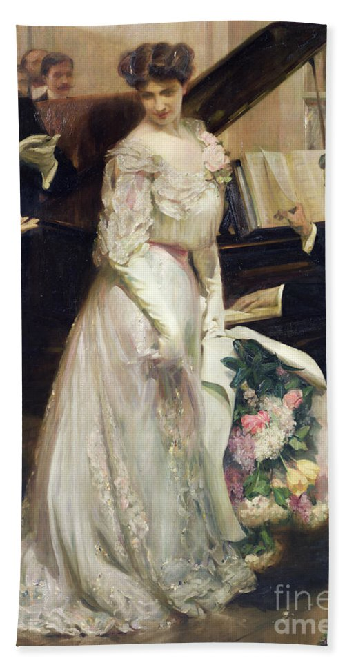 The Celebrated Beach Towel featuring the painting The Celebrated by Joseph Marius Avy