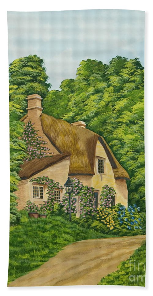 Cottage Beach Towel featuring the painting The Charm Of Wiltshire by Charlotte Blanchard