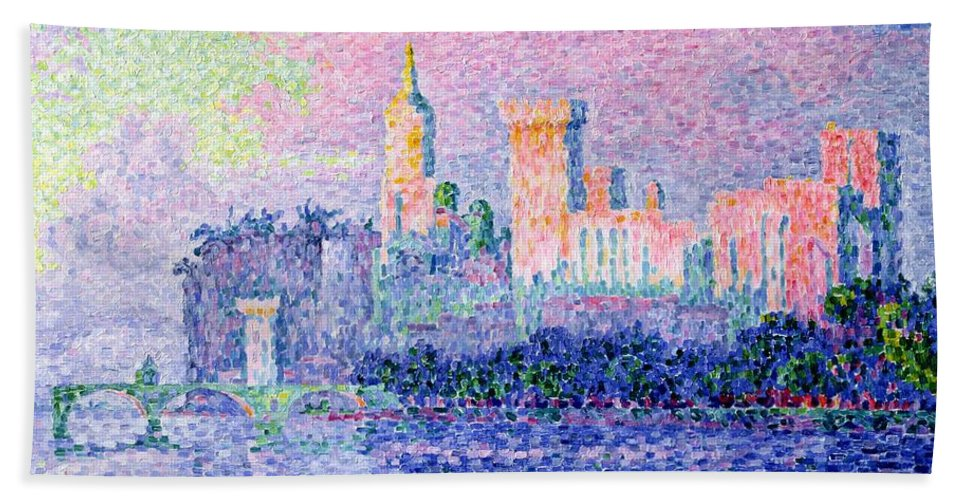 The Chateau Des Papes Beach Towel featuring the painting The Chateau Des Papes by Paul Signac
