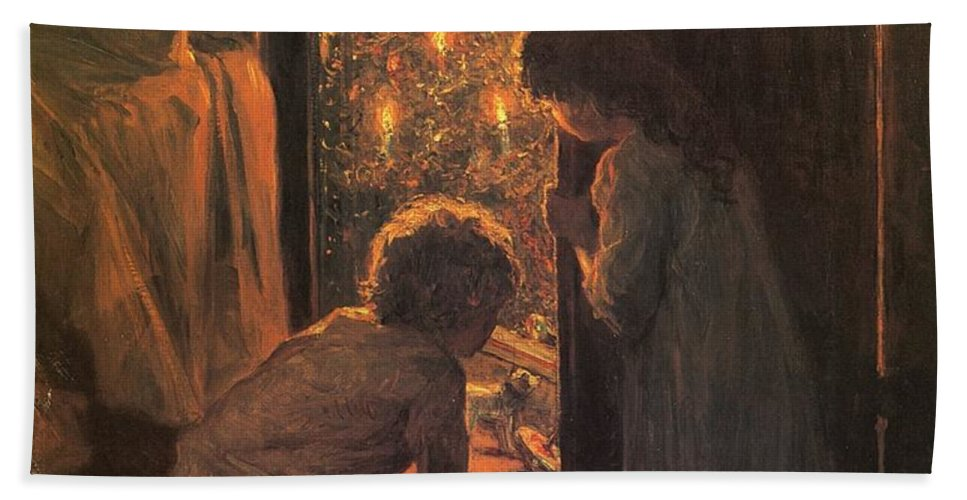 The Christmas Tree Beach Towel featuring the painting The Christmas Tree by Henry Mosler