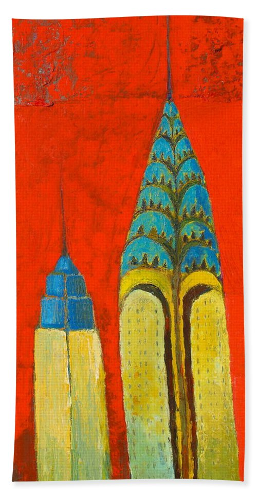 Beach Towel featuring the painting The Chrysler And The Empire State by Habib Ayat