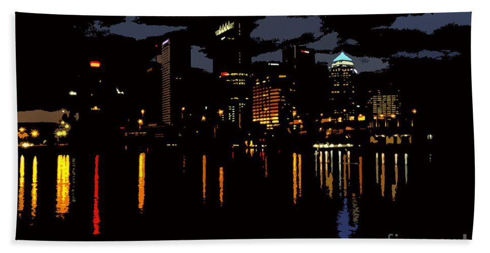 Tampa Florida Beach Towel featuring the photograph The City Dark by David Lee Thompson