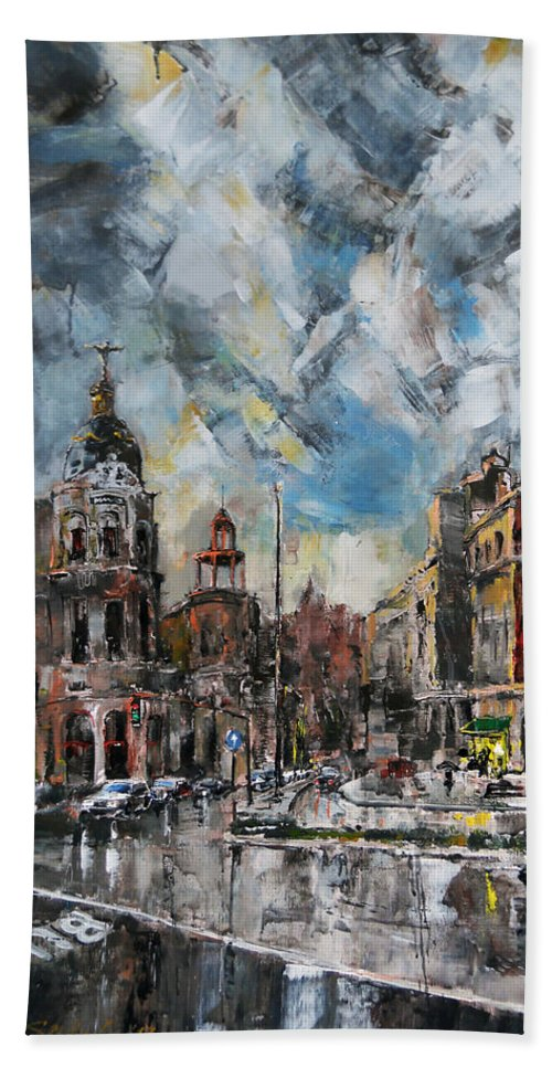 Cityscape Beach Towel featuring the painting The City Touched By The Sunset by Stefano Popovski