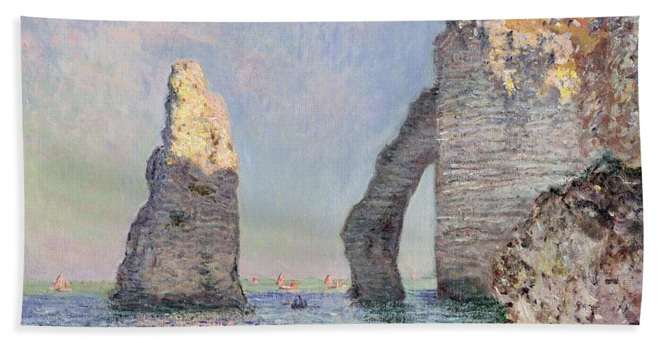 The Cliffs At Etretat Beach Towel featuring the painting The Cliffs at Etretat by Claude Monet
