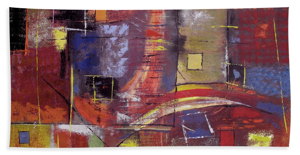 Abstract Beach Towel featuring the painting The Climb by Ruth Palmer