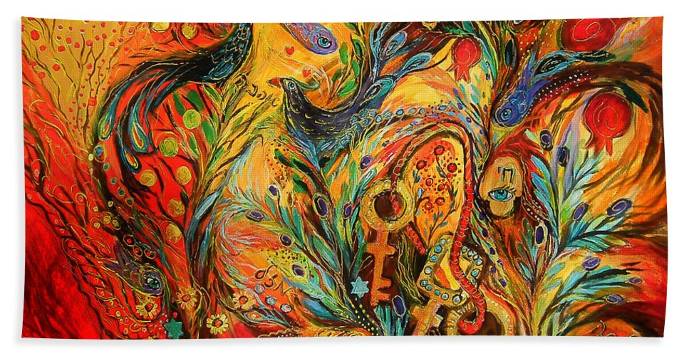 Original Beach Towel featuring the painting The colors of Sunrise by Elena Kotliarker
