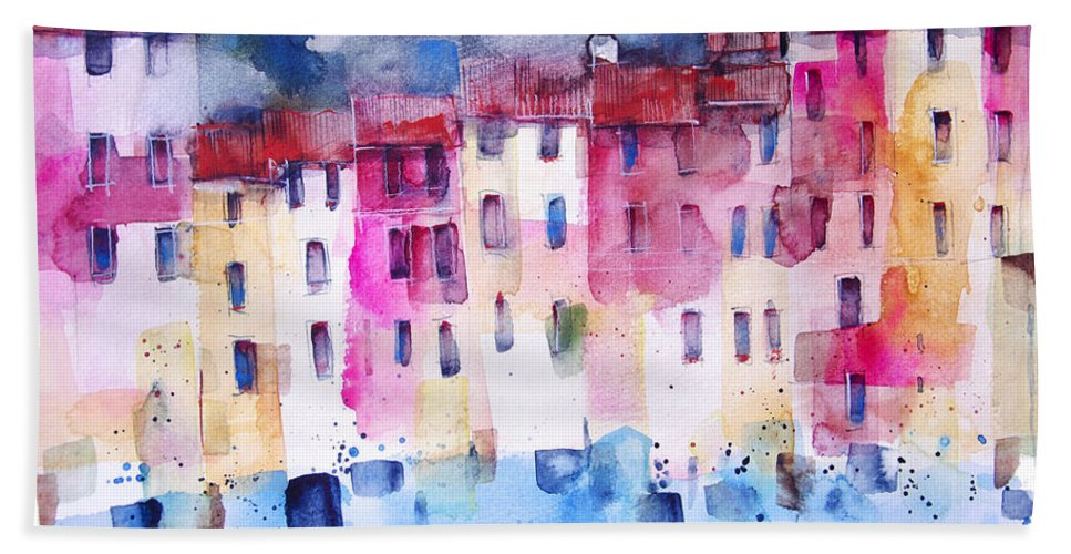 Architecture Beach Towel featuring the painting The coloured houses of Portofino by Alessandro Andreuccetti