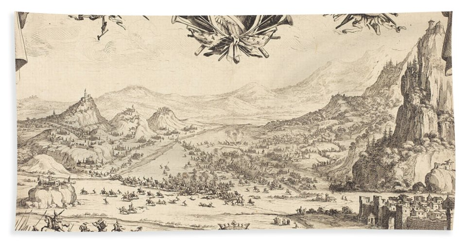 Beach Towel featuring the drawing The Combat Of Avigliana by Jacques Callot