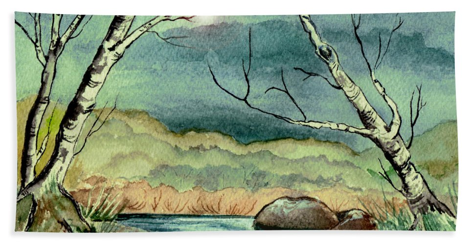 Watercolor Beach Towel featuring the painting The Coming Storm by Brenda Owen