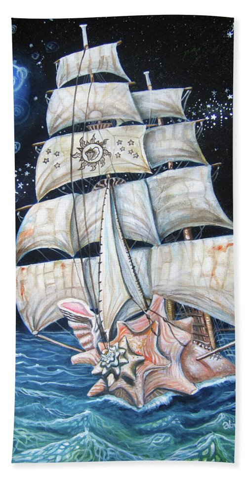 Key West Beach Towel featuring the painting The Conchquistador by Abigail White