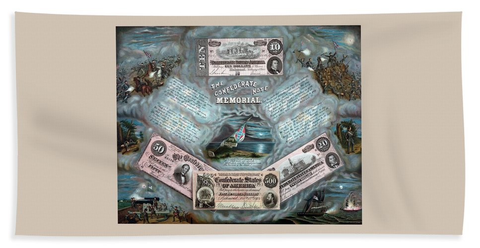 Civil War Beach Towel featuring the painting The Confederate Note Memorial by War Is Hell Store