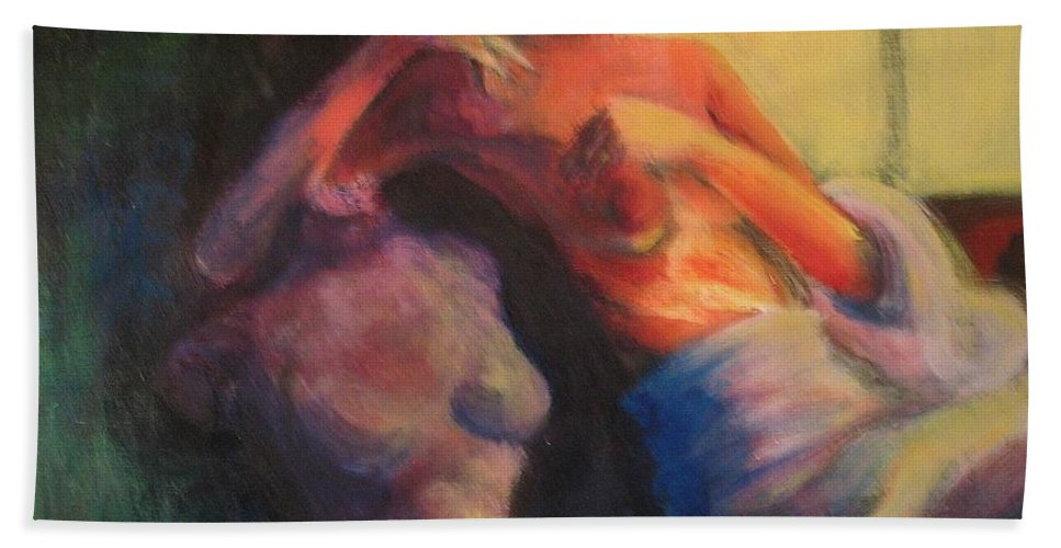 Bright Beach Towel featuring the painting The Confidante by Jason Reinhardt