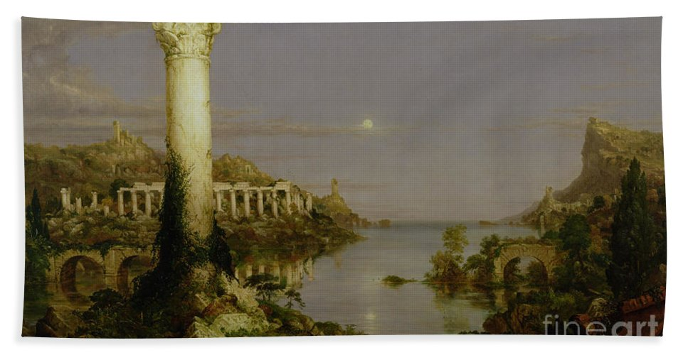 Moonlit Landscape; Classical; Architecture; Ruin; Ruins; Desolate; Bridge; Column; Hudson River School; Moon Beach Towel featuring the painting The Course Of Empire - Desolation by Thomas Cole