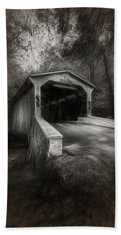 Marvin Saptes Beach Sheet featuring the photograph The Covered Bridge by Marvin Spates