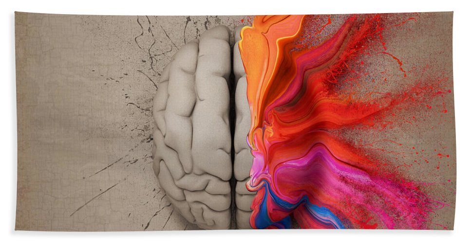 Brain Beach Towel featuring the digital art The Creative Brain by Johan Swanepoel