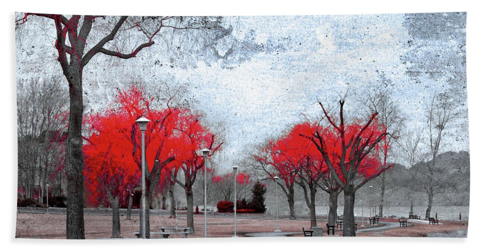 Trees Beach Towel featuring the photograph The Crimson Trees by Tara Turner