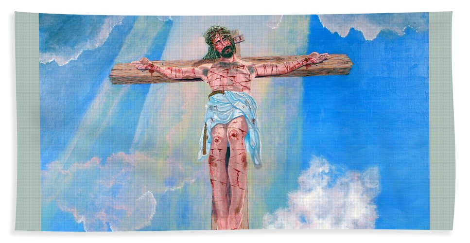 Christian Beach Towel featuring the painting The Crucifixion DayTime by Stan Hamilton