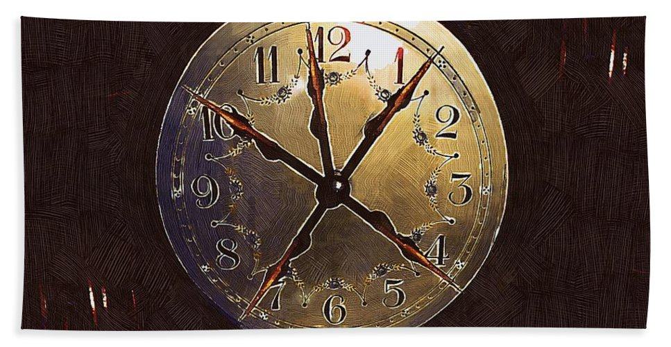 Clock Beach Towel featuring the painting The Crucifixion Of Time by RC DeWinter