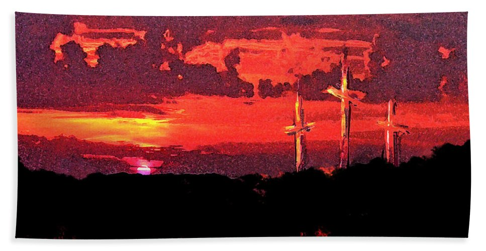 Abstract Beach Sheet featuring the painting The Crucifixtion by Rachel Christine Nowicki