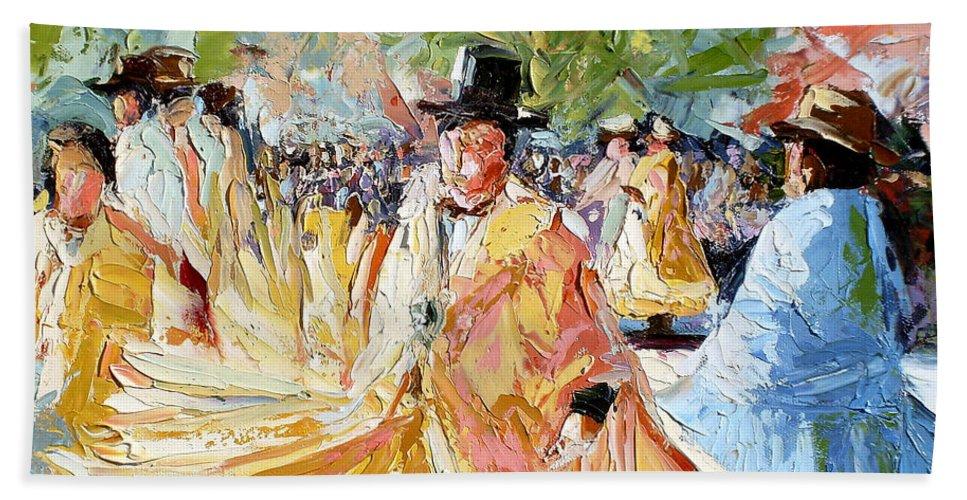 La Paz Beach Towel featuring the painting The Dance At La Paz by Lewis Bowman