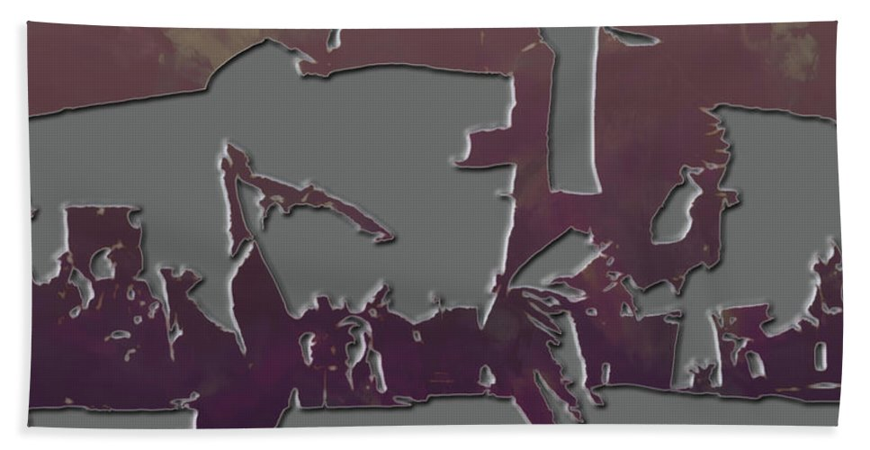 Pulp Fiction Beach Towel featuring the mixed media The Dance by Brian Reaves