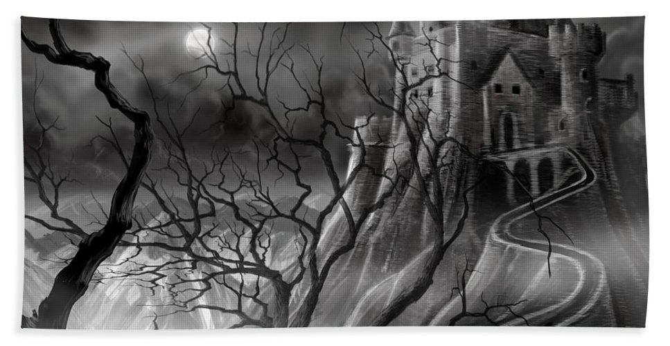 Castle Beach Towel featuring the painting The Dark Castle by James Christopher Hill