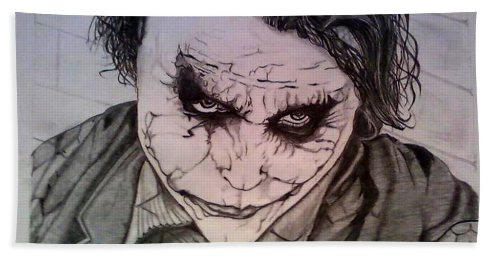 Graphite Pencil Beach Towel featuring the drawing The Dark Knight by Johnee Fullerton