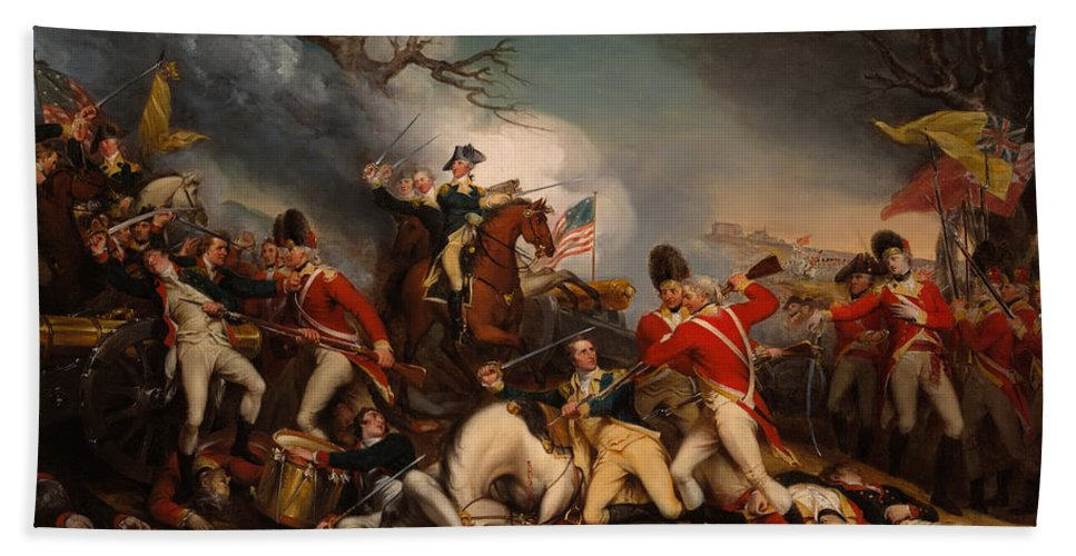 Painting Beach Towel featuring the painting The Death Of General Mercer At The Bottle Of Princeton by Mountain Dreams