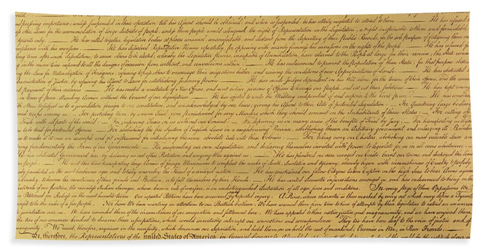 Declaration Of Independence Of The 13 United States Of America Of 1776 Beach Towel featuring the painting The Declaration of Independence by Founding Fathers
