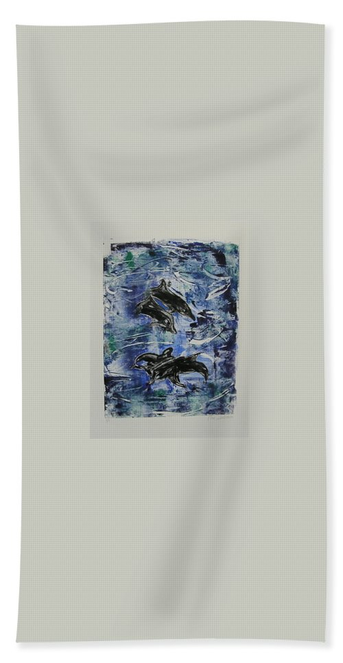 Monotype Beach Towel featuring the mixed media The Deep Sea by Cori Solomon