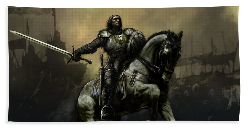 Fantasy Beach Towel featuring the painting The Defiant by David Willicome