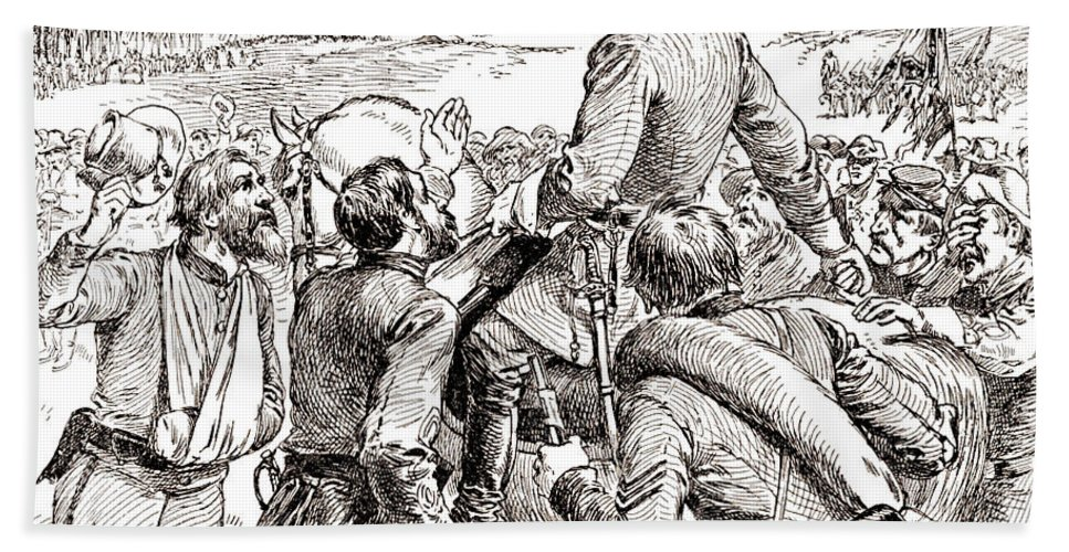 Departure Beach Towel featuring the drawing The Departure Of General Robert E Lee From His Soldiers Prior To His Surrender To Grant by American School