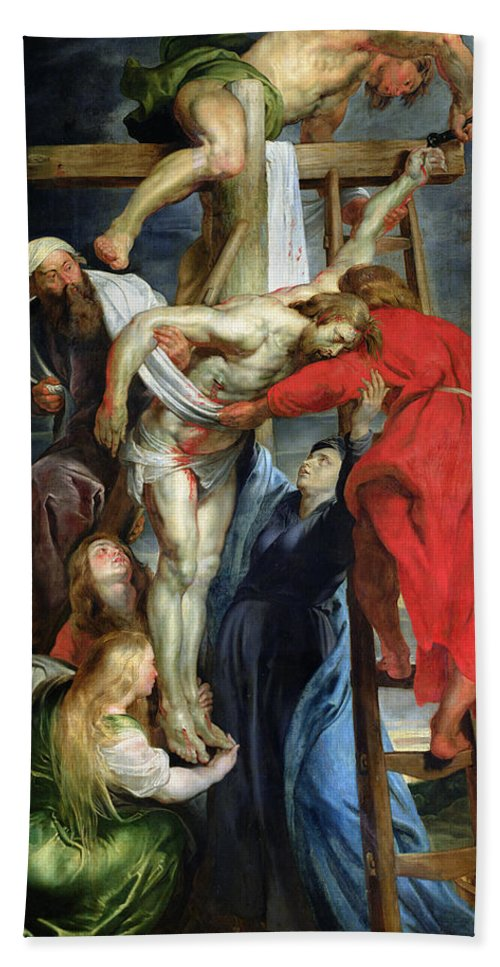 The Descent From The Cross Beach Towel featuring the painting The Descent From The Cross by Rubens