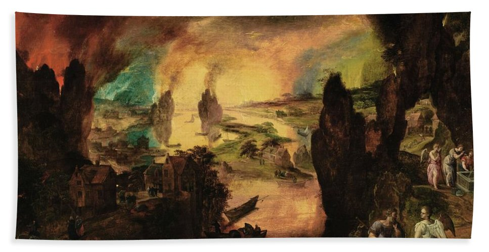 Gillis Mostaert Lot And His Daughters Guided By Angels Beach Towel featuring the painting The Destruction by Gillis Mostaert