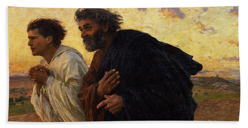 The Beach Towel featuring the painting The Disciples Peter and John Running to the Sepulchre on the Morning of the Resurrection by Eugene Burnand