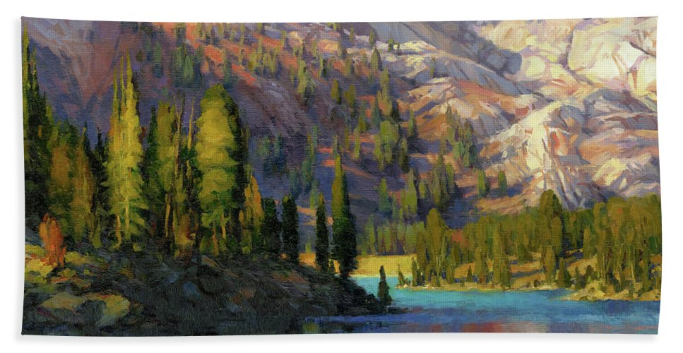 Mountain Beach Towel featuring the painting The Divide by Steve Henderson